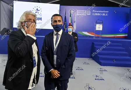 Co-founder of Five-Star movement (M5S) Beppe Grillo (L) and Italian Foreign Minister Luigi Di Maio (R) during the presentation of the 2019 Blue Book at the Customs and Monopolies Agency, Rome, Italy, 11 September 2020.