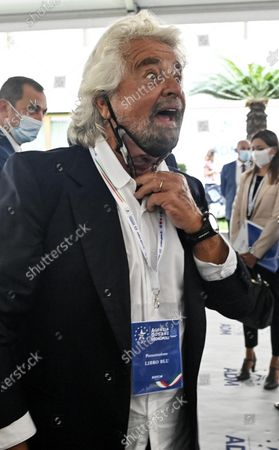 Stock Image of Co-founder of Five-Star movement (M5S) Beppe Grillo with a protective mask during the presentation of the 2019 Blue Book at the Customs and Monopolies Agency, Rome, Italy, 11 September 2020.