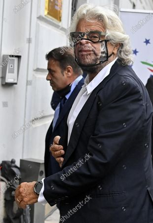 Stock Photo of Co-founder of Five-Star movement (M5S) Beppe Grillo with a protective mask during the presentation of the 2019 Blue Book at the Customs and Monopolies Agency, Rome, Italy, 11 September 2020.