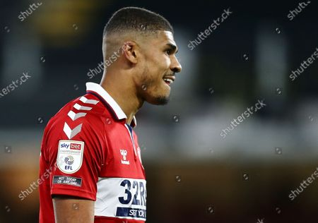 Ashley Fletcher of Middlesbrough wears a Sky Bet  sleeve badge with Not Today Or Any Day anti-discrimination campaign logo