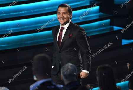 """Stock Picture of Christian Nodal accepts the award for best ranchero/mariachi album for """"Ahora"""" at the 20th Latin Grammy Awards, in Las Vegas. Nodal launches his album """"AYAYAY DELUXE"""" on Sept. 11, 2020"""