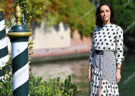 Elena Cucci arrives at Lido Beach for the 77th annual Venice International Film Festival, in Venice, Italy, 11 September 2020. The event is the first major in-person film fest to be held in the wake of the Covid-19 coronavirus pandemic. Attendees have to follow strict safety measures like mandatory face masks indoors, temperature scanners, and socially distanced screenings to reduce the risk of infection. The public is barred from the red carpet, and big stars are expected to be largely absent this year. The 77th edition of the festival runs from 02 to 12 September 2020.