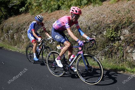 Stock Picture of British rider Hugh John Carthy (R) of EF-Pro Cycling team in action during the 13th stage of the 107th edition of the Tour de France cycling race over 191.5 km from Chatel-Guyon to Le Puy Mary Cantal, France, 11 September 2020.