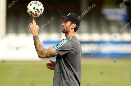 Reece Topley of Surrey plays with a football in training prior to Essex Eagles vs Surrey, Vitality Blast T20 Cricket at The Cloudfm County Ground on 11th September 2020
