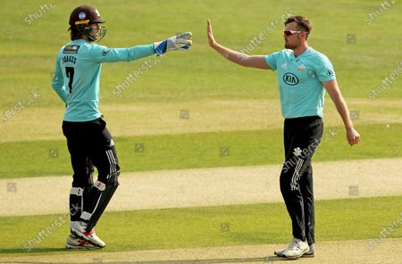 Stock Picture of Daniel Moriarty of Surrey (right) is congratulated by Ben Foakes having taken the wicket of Adam Wheater during Essex Eagles vs Surrey, Vitality Blast T20 Cricket at The Cloudfm County Ground on 11th September 2020