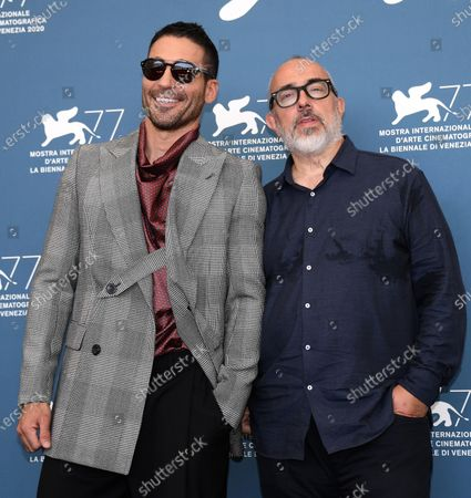 Alex de la Iglesia (R) and Spanish actor Miguel Angel Silvestre pose at a photocall for '30 Coins (30 Monedas) -Episode 1' during the 77th annual Venice International Film Festival, in Venice, Italy, 11 September 2020. The movie is presented out of Competition-Special Screenings at the festival running from 02 September to 12 September.
