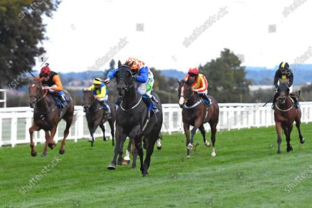 Winner of The Racing TV Handicap Stakes Mere Anarchy (Orange/White cap ) ridden by Kieran Shoemark and trained by Robert Stephens  during Horse Racing at Salisbury Racecourse on 11th September 2020