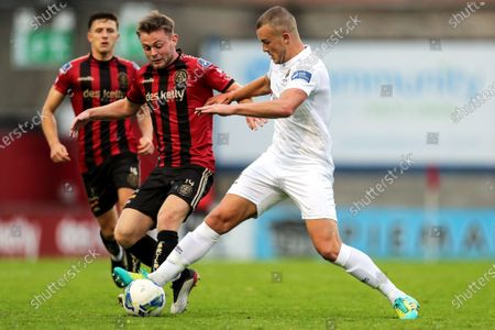 Bohemians vs Waterford. Bohemians' Daniel Grant and Michael O'Connor of Waterford