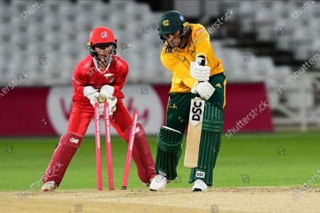 Alex Hales of Nottinghamshire bowled during the Vitality T20 Blast North Group match between Nottinghamshire County Cricket Club and Lancashire County Cricket Club at Trent Bridge, Nottingham
