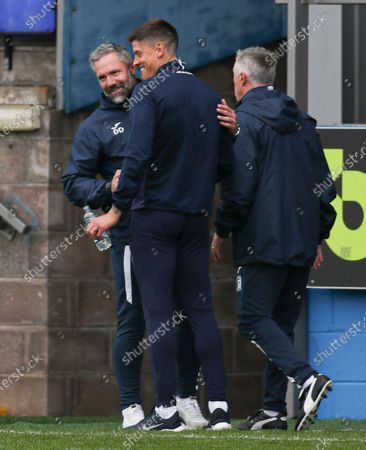 Stock Photo of Barrow manager David Dunn and Stevenage manager Alex Revell at the end of the match