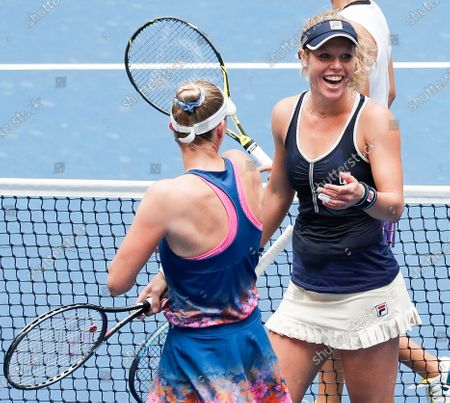 Stock Image of Teammates Laura Siegemund (R) of Germany and Vera Zvonareva (L) of Russia celebrate defeating Nicole Melichar of the US and Yifan Xu of China in the women's doubles final match on the twelfth day of the US Open Tennis Championships the USTA National Tennis Center in Flushing Meadows, New York, USA, 11 September 2020. Due to the coronavirus pandemic, the US Open is being played without fans and runs from 31 August through 13 September.