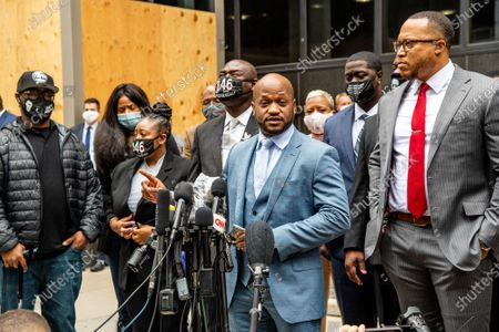 Attorney Chris Stewart speaks outside of the Hennepin County Family Justice Center for the pre trial hearing held for police officers involved in George Floyd's Death on September 11, 2020 in Minneapolis, MN.
