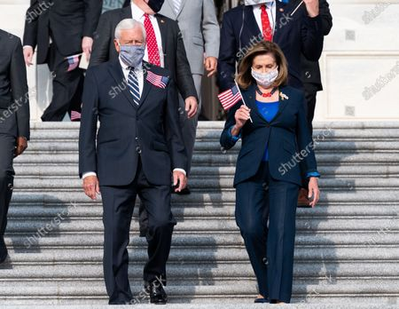 House Speaker, Nancy Pelosi (D-CA), House Majority Leader, Steny Hoyer (D-MD) and Members of Congress arriving for a moment of silence observing National Day of Service and Remembrance.