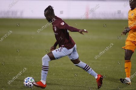 Colorado Rapids forward Kei Kamara (23) during the first half of an MLS soccer match, in Commerce City, Colo