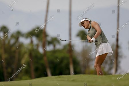 Lexi Thompson watches her shot on the fourth hole during the second round of the LPGA's ANA Inspiration golf tournament at Mission Hills Country Club in Rancho Mirage, Calif