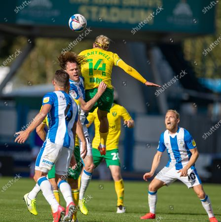 Todd Cantwell of Norwich City rises for the header but fouls Richard Stearman of Huddersfield Town; 12th September 2020 The John Smiths Stadium, Huddersfield, Yorkshire, England; English Championship Football, Huddersfield Town versus Norwich City.