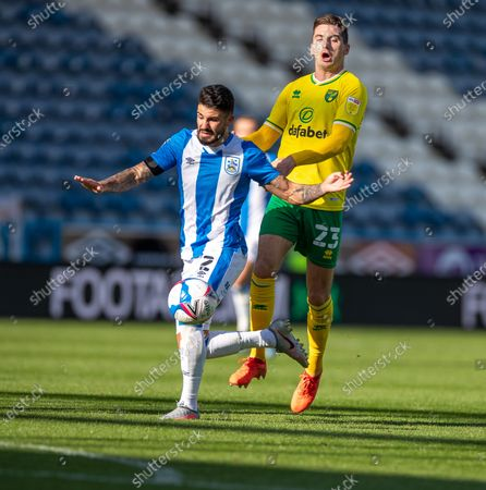 Richard Stearman of Huddersfield Town shields the ball from Kenny McLean of Norwich City; 12th September 2020 The John Smiths Stadium, Huddersfield, Yorkshire, England; English Championship Football, Huddersfield Town versus Norwich City.