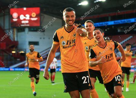 Romain Saiss of Wolverhampton Wanderers celebrates scoring a goal to make it 0-2