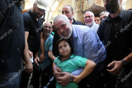 A picture taken on September 6, 2020. Hamas' political bureau chief Ismail Haniya visits the Ain al-Hilweh refugee camp, south Lebanon.