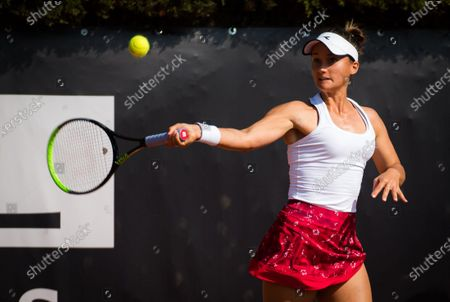 Lauren Davis of the United States in action during the first qualifications round at the 2020 Internazionali BNL d'Italia WTA Premier 5 tennis tournament