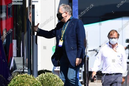 Stock Image of FIA President Jean Todt walks in the paddock during the third practice session of the Formula One Grand Prix of Tuscany at the race track in Mugello, Italy 12 September 2020. The 2020 Formula One Grand Prix of Tuscany will take place on 13 September 2020.