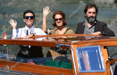 Stefano Mordini (R) with Italian actresses Serena Rossi (L) and Maya Sansa (C) arrive at the Lido Beach to present the movie 'Lasciami andare' (You Came Back) for the 77th annual Venice International Film Festival, in Venice, Italy, 12 September 2020. The movie is presented out of competition at the festival running from 02 to 12 September.