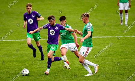 Stock Picture of Cork City vs Shamrock Rovers. Cork's Rob Slevin and Dylan Watts of Rovers
