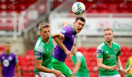Cork City vs Shamrock Rovers. Cork's Rob Slevin and Aaron Greene of Rovers