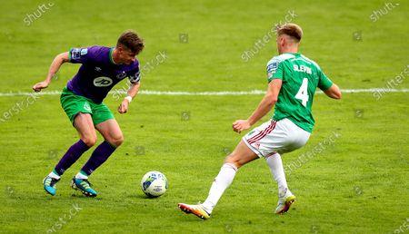 Cork City vs Shamrock Rovers. Cork's Rob Slevin and Ronan Finn of Rovers