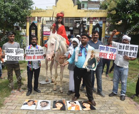 Lok Janshakti Party activists take part in a protest in support of Bollywood actress Kangana Ranaut, on September 10, 2020 in Patna, India.