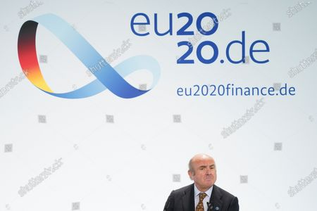 Luis de Guindos, Vice President of the European Central Bank, speaks to the media at the conclusion of an informal meeting of European Union ministers for economic and financial affairs at the InterContinental Hotel Berlin, in Berlin, Germany, 12 September 2020. The meeting runs from 11 to 12 September.
