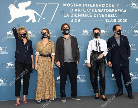 Valeria Golino, Maya Sansa, Italian filmmaker Stefano Mordini, Italian actors Serena Rossi and Stefano Accorsi, wearing a protective face masks, pose at a photocall for 'Lasciami andare (You came back)' during the 77th annual Venice International Film Festival, in Venice, Italy, 12 September 2020. The movie is presented out of competition at the festival running from 02 September to 12 September.