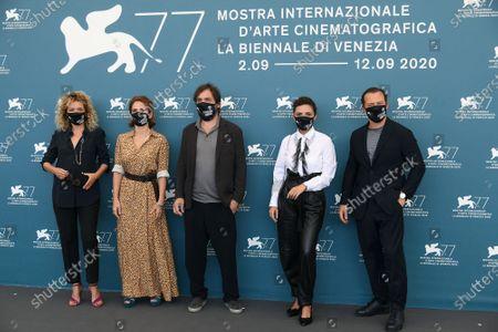 Director Stefano Mordini, Valeria Golino, Maya Sansa, Serena Rossi, Stefano Accorsi wear a mask due to the Covid-19 virus