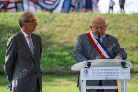 Georges Siffredi, (L) president of the Hauts-de-Seine department, listens to Andre Santini (R), mayor of Issy les Moulineaux, speaking during the inauguration of the restored Face Tower in Issy-les-Moulineaux, near Paris, France, 12 September 2020. The Face Tower built between 1986 and 1988 by French sculptor Jean Dubuffet in the Parc de l'Ile Saint-Germain marks the entrance to the valley of Hauts-de-Seine culture.