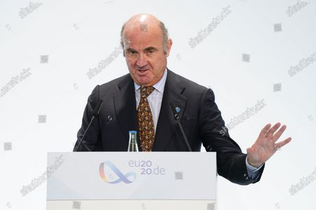 Luis De Guindos Jurado, Vice President of the European Central Bank, speaks to the media at the conclusion of an informal meeting of European Union ministers for economic and financial affairs. The meeting took place under the current German presidency of the European Council.