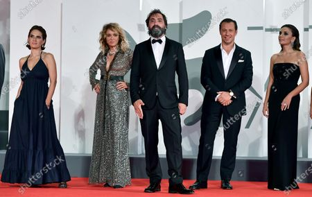 Stefano Mordini (C) with Italian actors Serena Rossi (R), Maya Sansa (L), Stefano Accorsi (2-R)and Valeria Golino (2-L) arrive for the premiere of 'Lasciami andare' (You Came Back) during the 77th annual Venice International Film Festival, in Venice, Italy, 12 September 2020. The event is the first major in-person film fest to be held in the wake of the Covid-19 coronavirus pandemic. Attendees had to follow strict safety measures like mandatory face masks indoors, temperature scanners, and socially distanced screenings to reduce the risk of infection. The public was barred from the red carpet, and big stars were largely absent this year. The 77th edition of the festival runs from 02 to 12 September 2020.