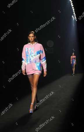Models wear a creation by Custo Barcelona brand during the 72th Mercedes-Benz Fashion Madrid, in Madrid, central Spain, 12 September 2020. The MBFWMadrid runs from 10 to 13 September 2020 under security measures due to the ongoing pandemic of the COVID-19 disease caused by the SARS-CoV-2 coronavirus.