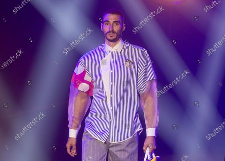 Model wears a creation by Brain and Beast during the Mercedes-Benz Fashion Week in Madrid, Spain