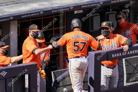 Baltimore Orioles' Hanser Alberto (57) celebrates with staff wearing protective masks after scoring on an RBI single hit by Ryan Mountcastle off New York Yankees starting pitcher Jordan Montgomery in the sixth inning of a baseball game, in New York