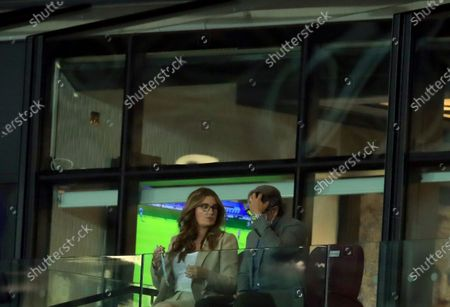 West Ham Vice-chairman Karren Brady, left, with her husband Paul Peschisolido during the English Premier League soccer match between West Ham United and Newcastle United at the London Stadium in London
