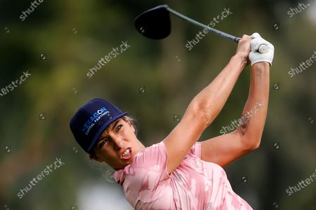 Mel Reid of England, watches her tee shot on the second hole during the third round of the LPGA's ANA Inspiration golf tournament at Mission Hills Country Club in Rancho Mirage, Calif