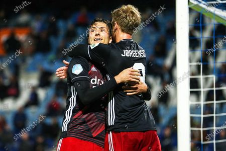 Steven Berghuis (L) of Feyenoord celebrates with teammate Nicolai Jorgensen (R) after scoring a goal during the Dutch Eredivisie soccer match between PEC Zwolle and Feyenoord Rotterdam at the MAC3Park stadium in Zwolle, Netherlands, 12 September 2020.