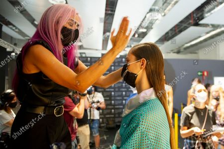 Backstage before the Custo Barcelona show during the MBFW Madrid (Mercedes Benz Fashion Week Madrid) Spring/Summer
