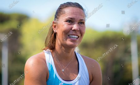 Lucie Hradecka of the Czech Republic during an interview at the 2020 Internazionali BNL d'Italia