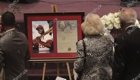 Stock Picture of Attendees pay their respects during the funeral service for St. Louis Cardinals legend and baseball Hall of Famer Lou Brock, at Greater Grace Church in Ferguson, Mo. Brock, the dynamic leadoff hitter and base stealer who helped the St. Louis Cardinals win three pennants and two World Series, died Sunday, Sept. 6, 2020 at age 81