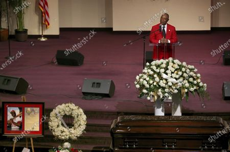 Former St. Louis Cardinals shortstop Ozzie Smith speaks during the funeral service for fellow baseball Hall of Famer Lou Brock, at Greater Grace Church in Ferguson, Mo. Brock, the dynamic leadoff hitter and base stealer who helped the St. Louis Cardinals win three pennants and two World Series, died Sunday, Sept. 6, 2020 at age 81
