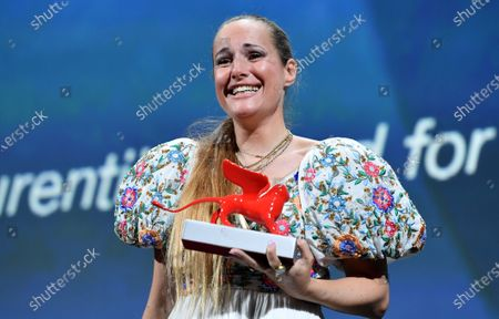 "Stock Picture of Director Ana Rocha de Sousa poses with the Lion of the Future - ""Luigi De Laurentiis"" Venice Award for a Debut Film"