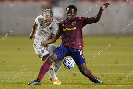 Stock Picture of Colorado Rapids forward Diego Rubio, left, and Real Salt Lake defender Nedum Onuoha (14) battle for the ball In the first half during an MLS soccer match, in Sandy, Utah