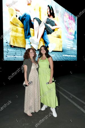 Stock Photo of Culver City, CA - September 12, 2020 - Writer/Director Natalie Krinsky and Geraldine Viswanathan seen at The Broken Hearts Gallery screening at the Sony Pictures drive-in on the historic Sony Pictures lot.