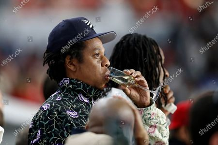 Entertainer Jay-Z and football player Todd Gurley are seen during the NFL Super Bowl 54 football game between the San Francisco 49ers and Kansas City Chiefs, in Miami Gardens, Fla. The Kansas City Chiefs won 31-20